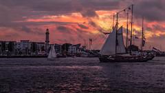 Warnemnde (LB-fotos) Tags: sailing ship boat hanse sail segelschiff rostock hansesail sunset sonnenuntergang ocean meer ostsee baltic sea coast kste warnemnde germany deutschland lighthouse leuchtturm