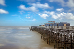 Hastings Pier. (aquanandy) Tags: nikond7000 sigma1750 nikonflickraward ndfilter summer visitbritain seaside seascape southcoast hastings uk uktourism ukbeach nikon nikoneurope nikonuk nikonuser 10stopnd pier clouds bluesky longexposure calmness beautiful follow followers followifyoulike followme