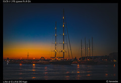 At rest for the night (Falcdragon) Tags: sea adriatic sonya7alpha sonyzeisssonnarfe1855mmza summer sunset water colour colors sky travel holiday zadar croatia boats ilce7