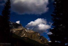 With Moraine Lake at my back there was this interesting ridge light up by the full moon. (FlintWeiss) Tags: mountains nationalpark banff 60d silhouette moonlight alberta 2016 efs1022mmf3545usm nightsky ridge canada canon fav morainelake mountain