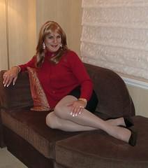 Burgundy Sweater Set (xgirltv1000) Tags: tgirl transgender crossdress mtf trans transwoman transformation transexual transvestite michellemonroe