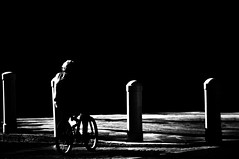 Thinking   !!!!!!!! (imagejoe) Tags: vegas nevada street strip black white photography photos shadows reflections people nikon