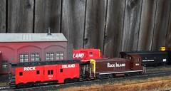 Rock Island Engine House (atjoe1972) Tags: ho scale model train penncentral pc rockisland ri crip railroad poolpower engine house switcher 187 caboose f7a f7b sw7 athearn bachmann custom paint atjoe1972 magicdonkey