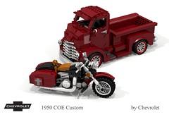 Chevrolet 1950 COE Custom & Harley-Davidson (lego911) Tags: chevrolet chevy chev truck coe custom pickup v8 tray auto moc model miniland lego lego911 ldd render cad povray usa america classic 1950s lugnuts challlenge 107 saturdaymorningshownshine saturday morning show n shine harley davidson motorcycle motorbike bike chopper v2