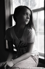 l In Thought (Claire Jaggers Photography) Tags: child teen girl contrast candid blackandwhite naturallight windowlight indoor sidelight nikond700 nikon80200mm