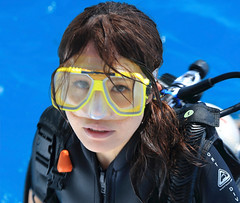 The Diver (Claire Heath :)) Tags: suba subadiver diving diver goggles reef gbr cairns girl female claireheath canon ocean sport water tanks mask