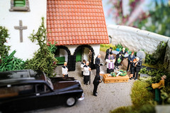 IMG_6226-1 (lauradavison) Tags: tiny miniature ho oo 187 scale model train railway faller customised church set up preiser figures funeral hearse coffin mourners