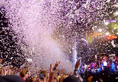 Confetti Blast (peterkelly) Tags: digital panasonic lumix zs50 oromedonte ontario canada northamerica wayhome wayhomemusicartsfestival 2016 festival music arcadefire concert crowd audience fans hands hand confetti cannon paper