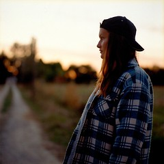 Summer Time (acearchie) Tags: uk summer england sun france hot cold film girl hat pose evening model hasselblad teen jacket cap 500c lumberjack twenty 150mm 115th