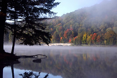 Redhouse Lake Allegany SP (Audubondude) Tags: lake reflection fog landscape redhouse alleganystatepark