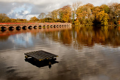 Carr Mill Pontoon (juliereynoldsphotography) Tags: autumn lake reflections pontoon juliereynolds carrmilldamn