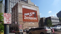 Jazz it up, New Orleans (Stephen Rollestone) Tags: sign advertising neworleans billboard jazzitup zatarains queencrescenthotel