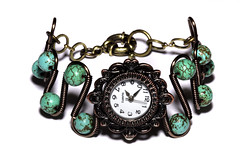 Steampunk Victorian Jewelry - Copper - Working watch bracelet -SpiderWeb Turquoise (Catherinette Rings Steampunk) Tags: wire turquoise watch spiderweb jewelry jewellery bracelet etsy deviantart steampunk