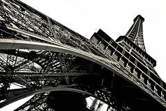 Eiffel Tower (Martijn Fraanje Fotografie) Tags: sunset white black paris france tower pillar eiffel
