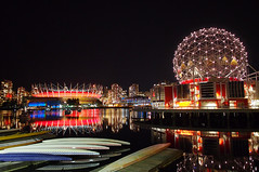 "BC Place in ""Poppy Red"" (どこでもいっしょ) Tags: canada colors skyline vancouver reflections lights bc nightshot canoes falsecreek remembranceday scienceworld bcplace vancouverskyline mirrorless poppyred microfourthirds thevillageonfalsecreek olympusm12mmf20 olympusomdem5 northernlightsdisplay"