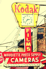 Dirty Old Town (Thomas Hawk) Tags: chicago clock illinois neon kodak 10 chitown fav20 southside fav30 cookcounty chicagoland windycity fav10 fav25 fav40 marquettephotosupply superfave