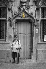 Bruges-portraits_094-SC (The-Wizard-of-Oz) Tags: monochrome belgium candid streetportrait bruges oldwoman selectivecolour