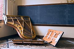 broken keys (Jonathon Much) Tags: urban music usa building brick abandoned broken window america theater shadows classroom theatre geometry decay michigan parts exploring urbandecay details explorer piano rusty wideangle highschool crack explore textures urbanexploration rusted damage rusting aged decomposition chalkboard exploration filthy functional crusty wrecked cracked decayed decaying academic woodfloors crumbling cracking crumbled repition urbanex canon7d resonantfrequency