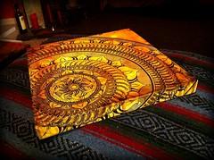 November Mandala (White Violet Art) Tags: orange abstract art mandala canvas handpainted
