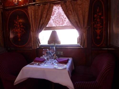 AL Andalus - luxury train in Spain - table in restaurant car