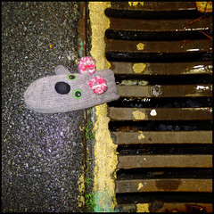 guttersnipe (garageowns) Tags: street city animal square found lost brighton hove grill drain gutter childs mitten 2012