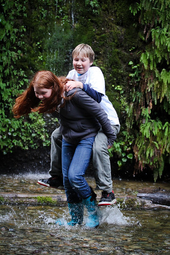 california statepark kids stream boots hike laugh splash carry ferncanyon prairiecreek purviance