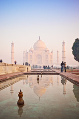 Taj Mahal at dawn (dhmig) Tags: travel india love colors architecture sunrise nikon tajmahal  nikond7000 dhmig
