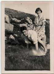 Dad plays horsey-horsey (daviddb) Tags: england vintage thirties 1930s dad father photographs snaps tousled wjb