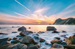Ihama Rocky Beach pm 4:23 (-TommyTsutsui- [nextBlessing]) Tags: longexposure blue winter light sunset sea sky orange seascape nature rock japan landscape coast nikon purple magic tide scenic wave shore       izu  minamiizu sigma1020  onsalegettyimages ihama