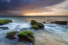 Geger Beach, Nusa Dua, Bali: Cloudy Sunrise Part 1 (Hafidz Abdul Kadir) Tags: travel blue light red sky bali cloud sun lake reflection beach water sunrise canon indonesia landscape waves slowshutter 5d goldenhour pantai nusa scapes borabora dua twop 1740f4 greatphotographers geger pantaigeger 5dmark2