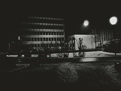 Strolling at 01:00 AM (Yves Roy) Tags: street city shadow urban blackandwhite bw black contrast dark austria blackwhite raw moody darkness noiretblanc 28mm snap gloom yr enigmatic ricohgrd blackwhitephotos grdiii bureboke yvesroy yrphotography
