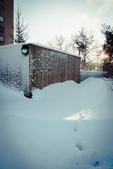 Suburban Winter (Fredrik Forsberg) Tags: winter snow sweden stockholm weekend footprints lx3 axelsberg