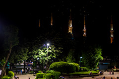 Ottoman Glory (Empty Quarter) Tags: street blue birds night turkey nikon minaret istanbul mosque 1750 tamron f28 sultanahmet emptyquarter na3eem ottomanstyle d7000