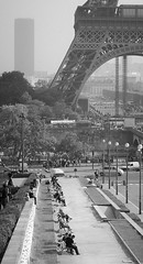 Tour Eiffel (Miklos Szaloczy) Tags: park bw sun white black paris france tower canon bench eos eiffel 5d sunbathing 2012
