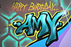 Abbey Road (8333696) Tags: road birthday street blue urban streetart london art abbey wall tin happy graffiti stencil mural paint artist amy can spray spraypaint graff aerosol ldn