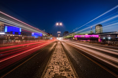 Rush Hour (Scott Baldock Photography) Tags: road nightphotography bridge light building london tower art water westminster station festival thames architecture night strand towerbridge londonbridge river landscape lights hall twilight nikon long gallery theatre low royal trails ibm symmetry southbank waterloo national blackfriars hayward tamron riverthames savoy southwark imax se1 onone lightroom waterloobridge wc2 londonarchitecture blackriars