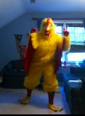 Chicken suit 64 (ChickenJay) Tags: bird chicken yellow happy costume transformation mask dancing wing beak suit talon hen groovy birdbrain toony