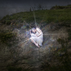 FallenStar (Robert Cornelius Photography) Tags: girl lady woman female white dress bright glow glowing glows sparkle sparkling sparkles beam beams light lighting star purple hair blue cool magic magical fairytale fantasy photoshop photoshopped photoshopping creative edit edited editing manipulated manipulation imagination