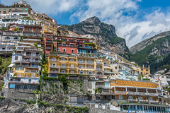 Positano Hills (roevin   Urban Capture) Tags: altomonte calabria italy it positano campania city old buildings church cathedral street streets sprawl hill mountain hills panorama overview stairs uphill tree trees window facade construction coast sea mediterranean beach houses harbor sun clouds cliff cliffs