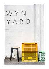 Wyn Yard (red stilletto) Tags: southmelbourne cafe wynyard wynyardcafe crate crates milkcrates stool chair typography wall famousflickrfive