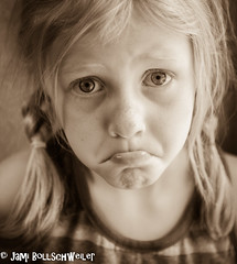 Pouty Girl (cuddleupcrafts) Tags: pouty girl portrait pose image child lip stuck out sepia sad redhead