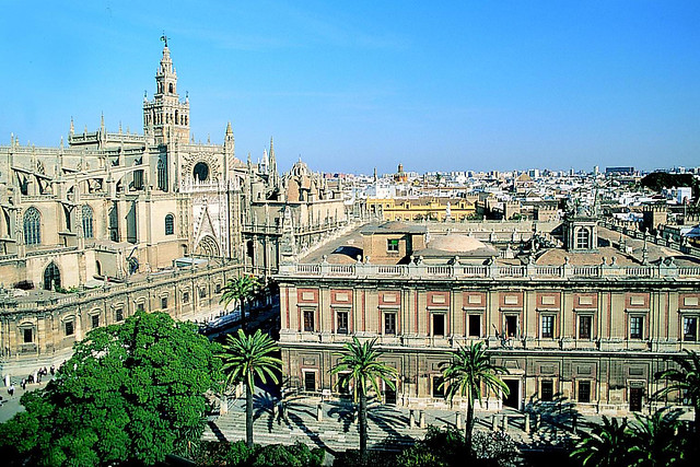 View of the Cathedral of Seville and the Archivo de Indias