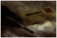 letter writing (Jackal1) Tags: quill letter writing envelope stamp words feather canon creative 50mm ink