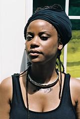 JR2-037-17 (David Swift Photography Thanks for 16 million view) Tags: davidswiftphotography portraits blackwomen africanamericanwomen turbans necklace tattoos film 35mm nikonfm2 kodakportra
