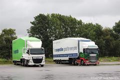 Eddie Stobart H1807 - NX64TYH & H2206 - PO15UFS - MISSY ROSE - Truckhaven, Carnforth 21.08.16 (31) (JD-22) Tags: daf scania coop stobart carnforth cf bellshill coventry trailer swap