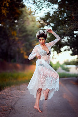 Dancing Pixie (Oooah!) Tags: dancing portrait women sunset goldenglow bower35mmf14 fashion beauty gorgeous female ilce7 madisonnazzarette beautiful newmexico sonya7 shorthair model lacedress