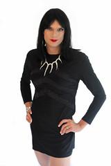 Black Chevron Dress 1 (Hannah McKnight) Tags: tgirl transgender transgirl model crossdress crossdresser stilettos