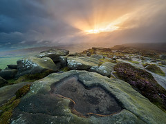 Out of the storm (Stephen Elliott Photography) Tags: peakdistrict derbyshire hopevalley stanageedge gritstone sunset evening summer storm olympus em1 714mm nisi filters heather