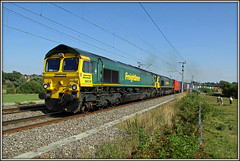 NO CAN do! (Jason 87030) Tags: shed fred 66538 66571 4m28 soton southampton garston liner freight cargo fl freightliner lineside ts location loop august sky boring blue field horses stupidanimals fence canon wcml 2016 cans diesel