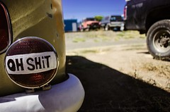OH SHIT (La Chachalaca Fotografa) Tags: bumper sticker light brake nikon coolpix oregon americana message irony